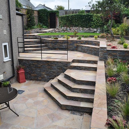 After: Workington terraced garden with steep steps