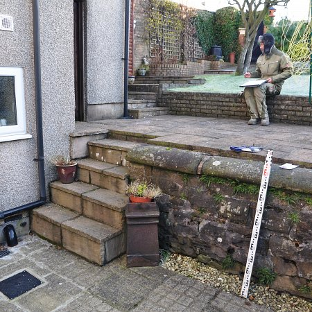 Before: Workington terraced garden with steep steps
